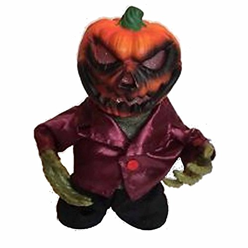9 Inch Animated Light Up Pumpkin Reaper Halloween Side Stepper - Spooky -