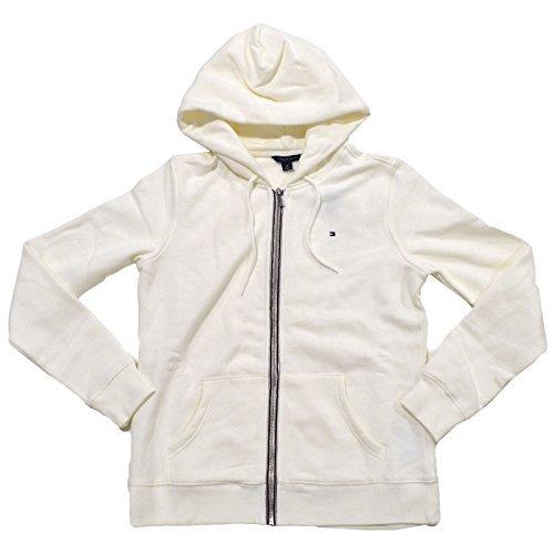 Tommy Hilfiger Womens Full Zip Fleece Lined Hoodie (M, Cream) (Cream Womens Hoodie)