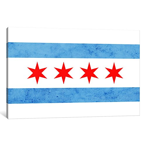 iCanvasART 1 Piece Chicago Flag¸ Small Grunge Canvas Print by Kane, 40 by 26''/1.5'' Deep by iCanvasART