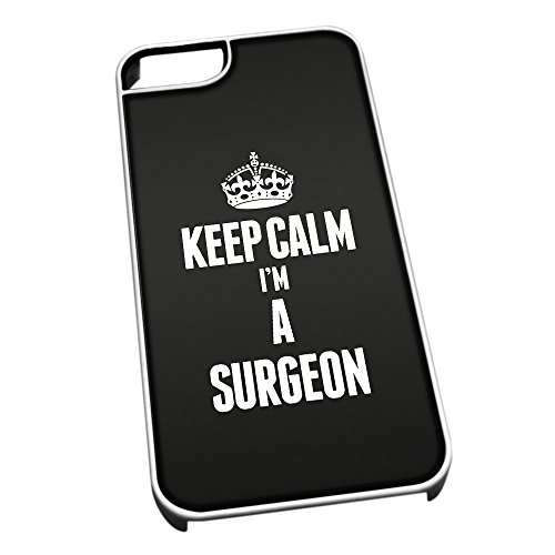 Bianco cover per iPhone 5/5S 2686 nero Keep Calm I m A Surgeon