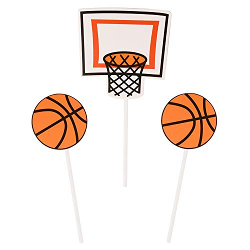 Donoter 48 Pcs Basketball Cupcake Toppers Sports Cake Picks for Birthday Party Dessert -