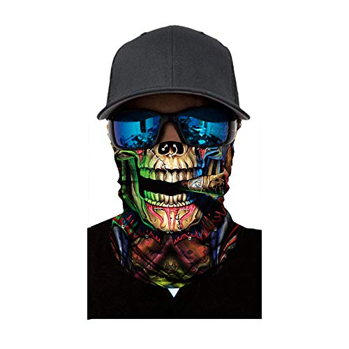Sunshinehomely Halloween Horror Headkerchief, Skull Cycling Motorcycle Neck Tube Ski Scarf Face Mask Balaclava Halloween Party (D) ()
