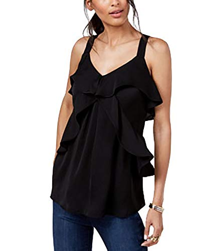 Michael Kors Hammered Satin Ruffle Tank (Black, Medium)