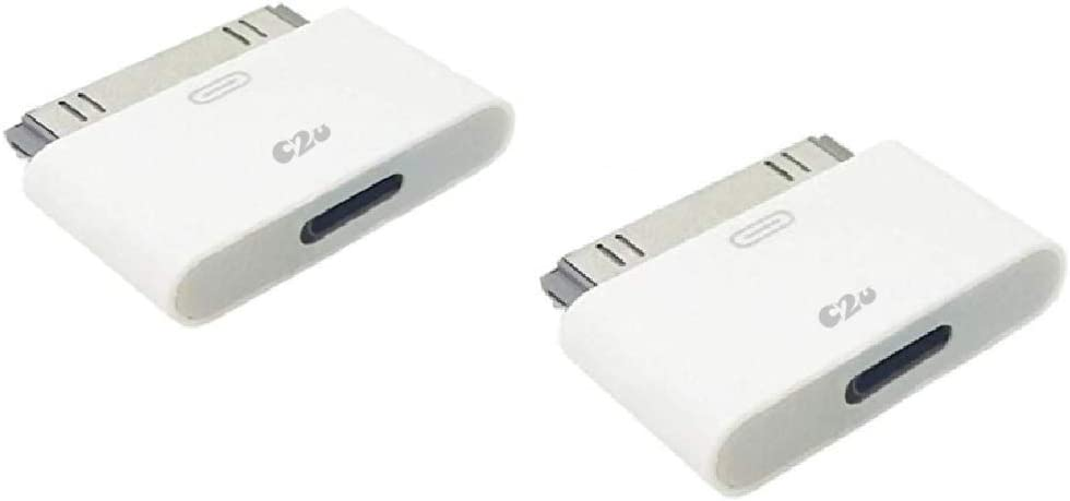Click2u Converter Adapter   8 Pin Female to 30 Pin Male Adapter Converter   Smartphones Charge, Data Sync, Docking Stations and No Audio   White (2 Pack)
