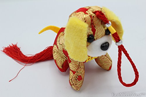 Chinese Feng Shui Protection Zodiac Year of Dog Silk Look Embroidered Stuffed Animal Prosperity Dog Tassel Hanging Charm (Red)