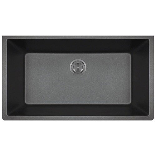 848 Large Single Bowl Quartz Kitchen Sink, Black, No Additional Accessories