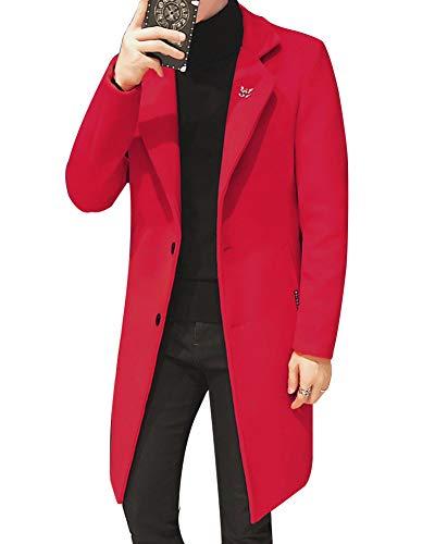 De Manteau Trench En Mélange Veste Hiver Homme Blousons Chaud Longue Laine Slim Rouge Coat Parka Fit wx1f0Pq