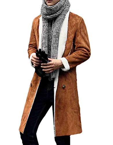 JXG Men Sherpa Coat with Faux Fur Lining Winter Warm Suede Leather Jacket Brown US ()