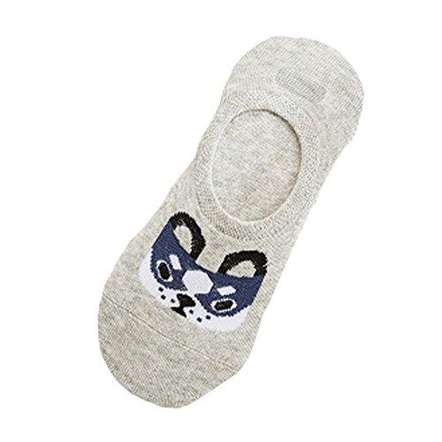 Gris Respirant Dog Chic Furtif De Business Bouche Peu Profonde Confortable Coton Décontracté Fashion Chaussettes Adeshop Animé Sock Femmes 1 Paire Dessin Travail Élasticité wq7ExpB