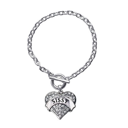 Inspired Silver Sissy Pave Heart Toggle Charm Bracelet With Clear Rhinestones