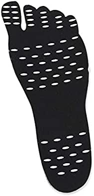 Beach Stick-on Foot Pads Invisible Shoes Stick on Foot Pads,Foot Stickers,Nakedfit Stick on Soles with Anti-Slip for Women Men Kids Exercise Beach Yoga (BLACK - M)