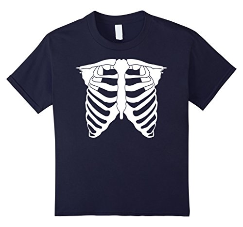 Rock N Roll Costumes For Girls (Kids Skeleton T-shirt - Cool Rib cage Tee - Halloween Costume 8 Navy)
