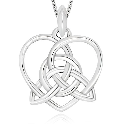 925 Sterling Silver Celtic Knot Triangle Heart Pendant Necklace, 18