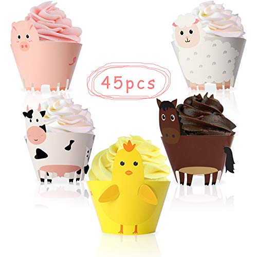 (45PCS Farm Animal Cupcake Wrappers Toppers for Baby Shower Farmhouse Birthday Party Supplies Cake)