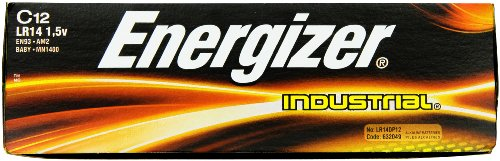 Energizer EN93 Industrial C 12 Alkaline Batteries, Pack of 12