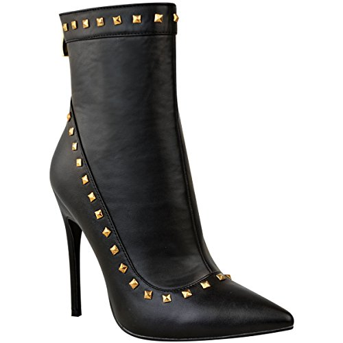 Fashion Thirsty Womens Studded Ankle Boots Black Stiletto High Heels Pointed Shoes Size 8