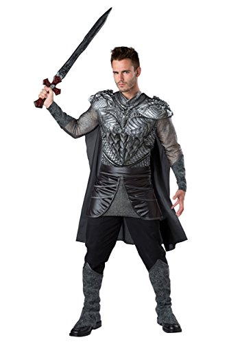 Fun World Men's Dark Medieval Knight Costume, Silver/Black, L