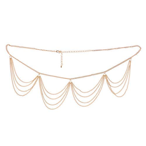 CHICTRY Tassel Waist Chain Multilayer Metal Link Belly Dance Belt Charming Sexy Body Waist Chain Costume Jewelry Gold One -