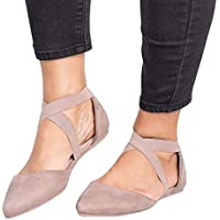 Women's Sandals Closed Pointed Toe Buckled Criss Cross Casual Pumps Flat Ankle Strap Shoes