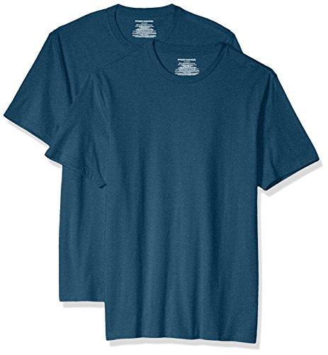 Amazon Essentials Men's 2-Pack Slim-Fit Short-Sleeve Crewneck T-Shirt, Teal Heather, Large