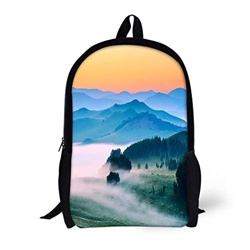 (Pinbeam Backpack Travel Daypack Sunset the Landscape of Meadow Steppe Wulanbutong Grassland Waterproof School Bag)