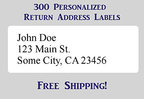 "300 Large Printed Personalized Return Address Labels 1"" x 2-5/8"" Inch 1"" x 2.625"""