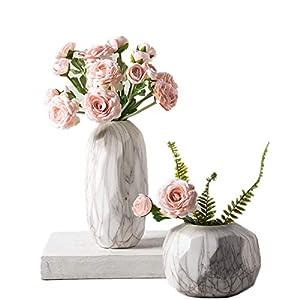 XINFU 2pcs Artificial Flowers Plastic Camellia Fake Ornament Home Office Decor(no vase) 83