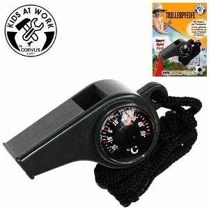 Trillerpfeife mit Kompass und Thermometer A400205