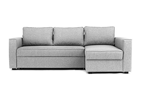 Boston Corner Sofa Bed with Storage in Grey - Right Hand ...