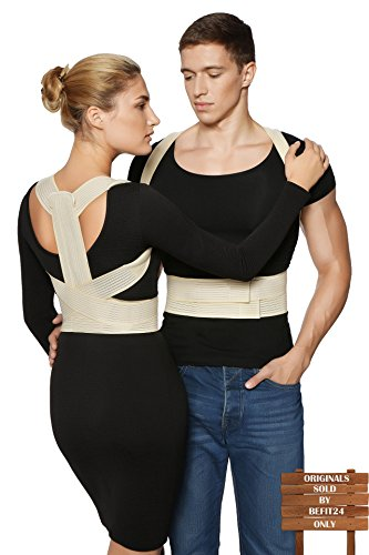 ®BeFit24 - Posture Corrector + FREE Workstation Setup Guide - Spine Alignment Kyphosis Brace for Women, Men & Kids - [Size 4] - Made in Europe - 5 Year Warranty
