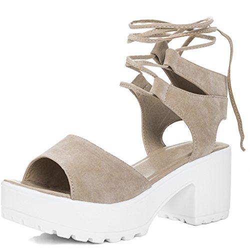 SPYLOVEBUY MOLLY Women's Open Peep Toe Mid Heel Sandals Shoes Nude Suede Style