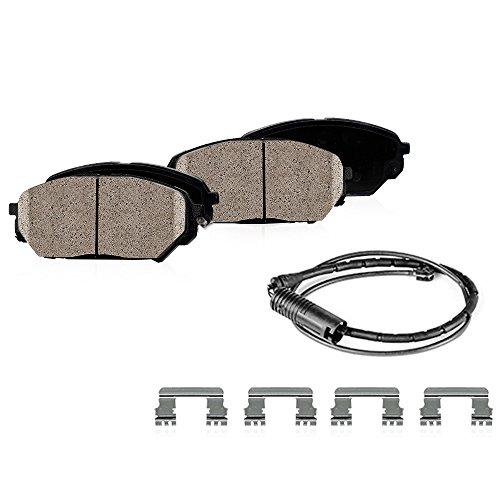FRONT Performance Grade Quiet Low Dust [4] Ceramic Brake Pads + Dual Layer Rubber Shims + Pad Sensors + ()