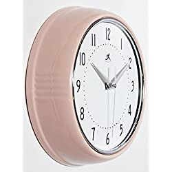 Infinity Instruments Retro 9.5 Inch Round Metal Wall Clock, Pink