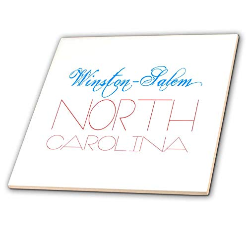 - 3dRose Alexis Design - American Cities - Elegant Nice Text Winston Salem North Carolina of Blue, red Colors - 8 Inch Glass Tile (ct_292347_7)