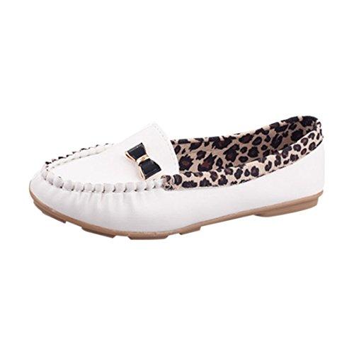 Vrouwen Flats - Toogoo (r) Mode Lente En De Herfst Flats Voor Vrouwen Loafers Schoenen Luipaard Patchwork Leer Vrouwen Casual Rijden Schoenen Rood Us4 Wit