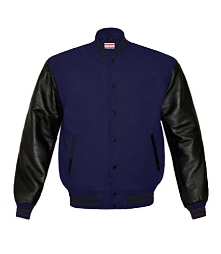 Superb Genuine Leather Sleeve Letterman College Varsity Men Wool Jackets Navy