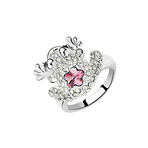 Gnzoe Womens Stainless Steel Crystal Flower Cubic Zirconia Rose Red Wedding Rings Size 8