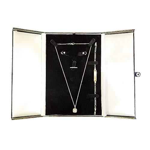 (888 Display USA Black/White/Black Earring Ring Necklace Bracelet Combo with Gift Box Display (Black/White/Black))