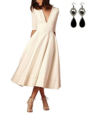 Sitengle Elegant Women Deep V Neck Long Evening Cocktail Formal Swing Dress