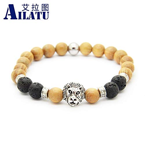 - Oseni Ailatu Wholesale Natural Wood Beads New Design Antique Color Lion Head Bracelet for Men Exquisite Holiday Gift
