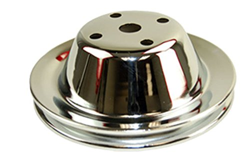 Chrome Pulley (SBC Chevy 283-350 Chrome Steel Smooth LWP Single Groove Water Pump Pulley)