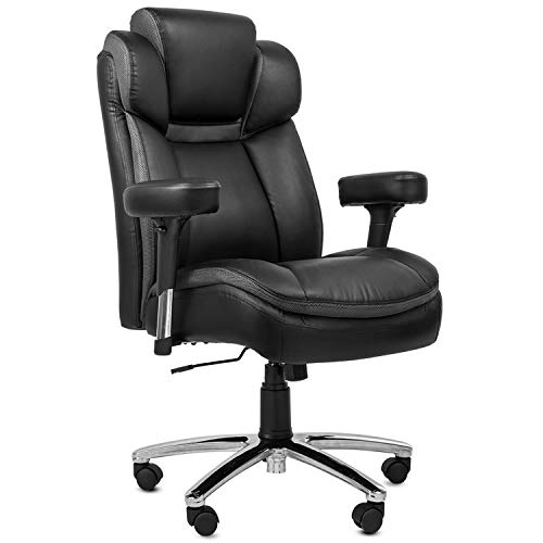 TOPSKY High Back Big & Tall 400 lb Thick Padded Seat Executive PU/PVC Leather Office Chair Adjustable Headrest and Armrest (Black.)