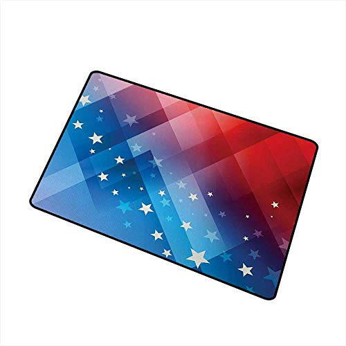 Moses Whitehead Patio All-Weather mat 4th of July,Independence Day Themed Abstract Diamond Rhombus with Star Liberty Freedom,Red White Blue,XL Jumbo, No Phthalate, Water Resistant, 24