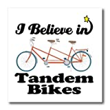 3dRose ht_105585_3 I Believe in Tandem Bikes-Iron on Heat Transfer for White Material, 10 by 10-Inch