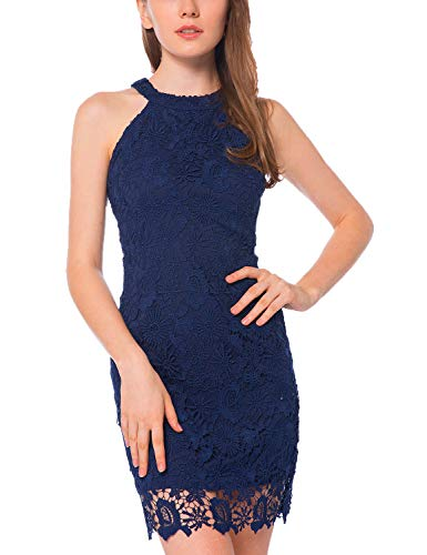 (Lamilus Women's Casual Sleeveless Halter Neck Party Lace Mini Dress (X-Large, Navy Blue) )