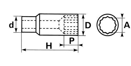 SAM Outillage SL-17 Douille longue 1//2 12 Pans de 17 mm