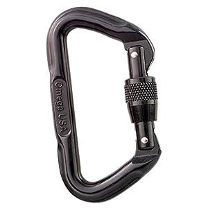 Omega Standard Locking D Carabiner, Black