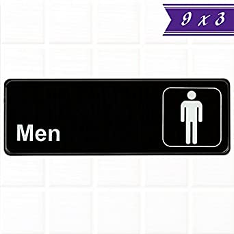 men restroom sign black and white 9 x 3 inches mens bathroom sign - Mens Bathroom Sign