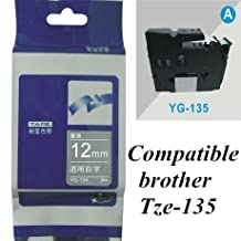 compatible brother tze tz label tape P-touch Tze135 tz135 tze 135 12mm*8m white on clear Tze-135 Printer Ribbons label maker (white on clear)