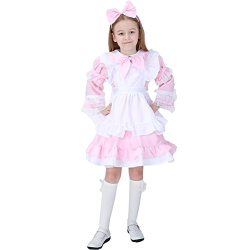 Kids Girls Halloween Costumes Little Maid with Detachable Sleeves and Apron Pink (Maid Dress Up Costume)